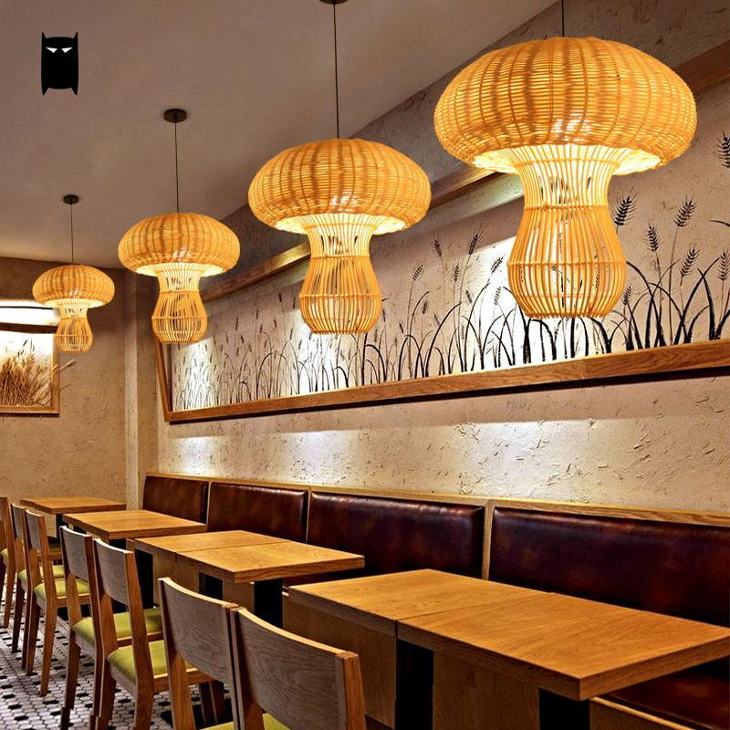 Handmade natural wicker rattan mushroom lampshade pendant light handmade natural wicker rattan mushroom lampshade pendant light fixture country hanging lamp lustre dining table room hallway in pendant lights from lights aloadofball Images