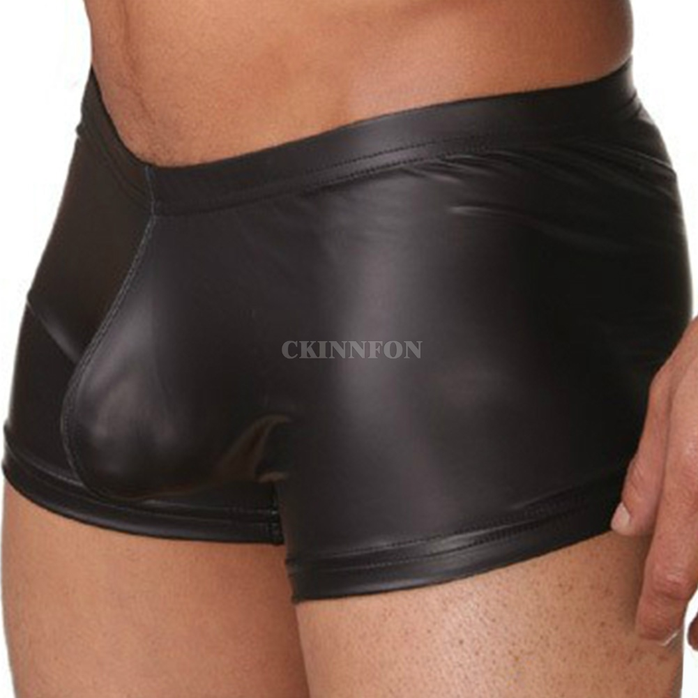 Underwear Cool Sexy Shorts Boxers Trunks Gay Nylon Male Black PU Men 50PCS U-Cover Faux-Leather