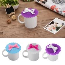 Модные крышки для чашек креативные пищевые силиконовые крышки для чашек термостойкие безопасные силиконовые крышки с бантом 8 цветов