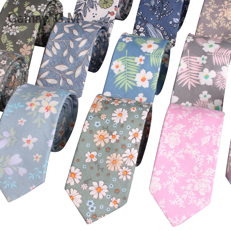 Fashion Mens Floral Print Tie Suit Skinny Slim Cotton Neckties for Party Wedding