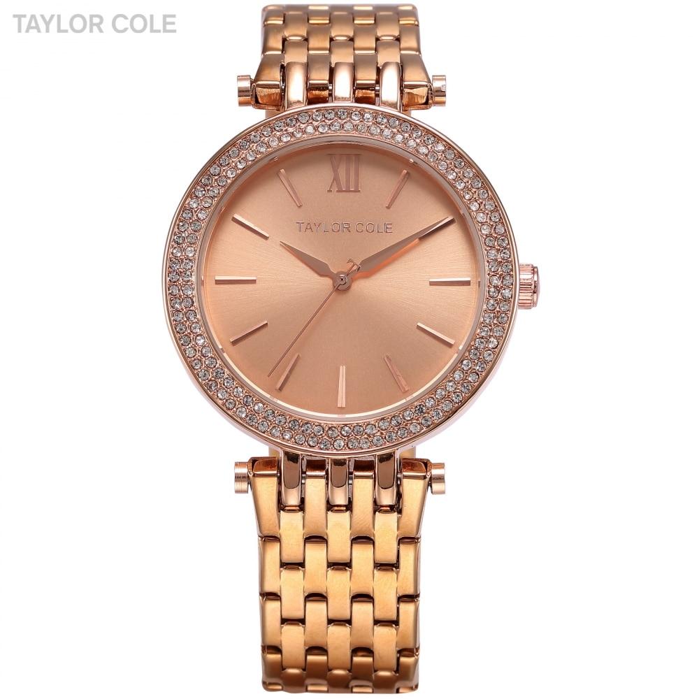 TAYLOR COLE Women Rose Gold Watches Fashion Lady Bracelet Clock Montre Femme Rhinestone Crystal Case Quartz Wrist Watch /TC002 quartz wristwatches montre femme fashion casual creative watches women leather bracelet analog wrist clock watch 18jan25
