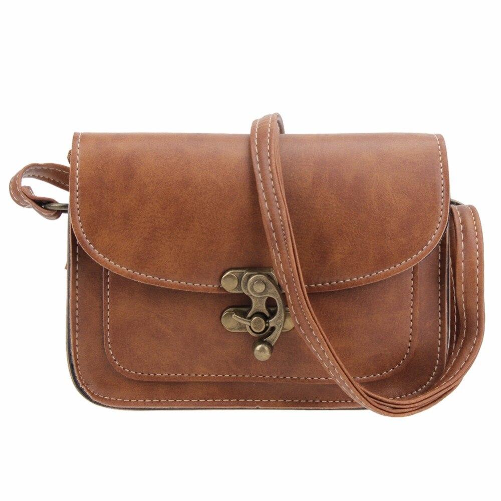 2018 Vintage PU Leather Women Bag Fashion Lock Small Women Messenger Bag Single Strap Shoulder Bag Crossbody Bags
