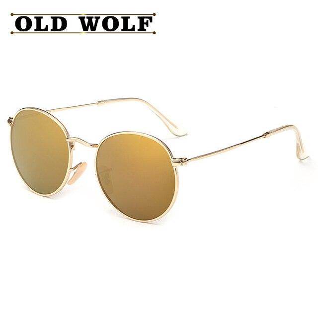 102d4de24985a TOP Clássico Vintage Rodada Óculos Polarizados 2016 Viseira Armações De  Metal Polaroid Óculos de Sol Da