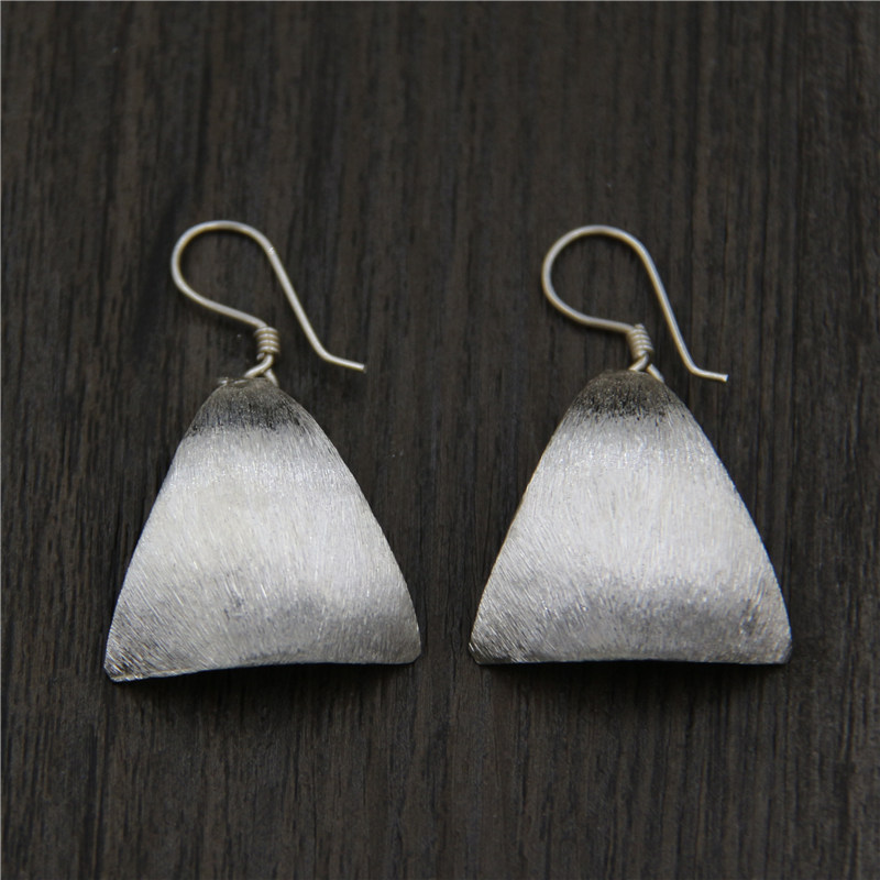 C&R Real 925 Sterling Silver Earrings for Women Curved Brushed Sequins Thai Silver Drop Earrings Handmade Fine Jewelry