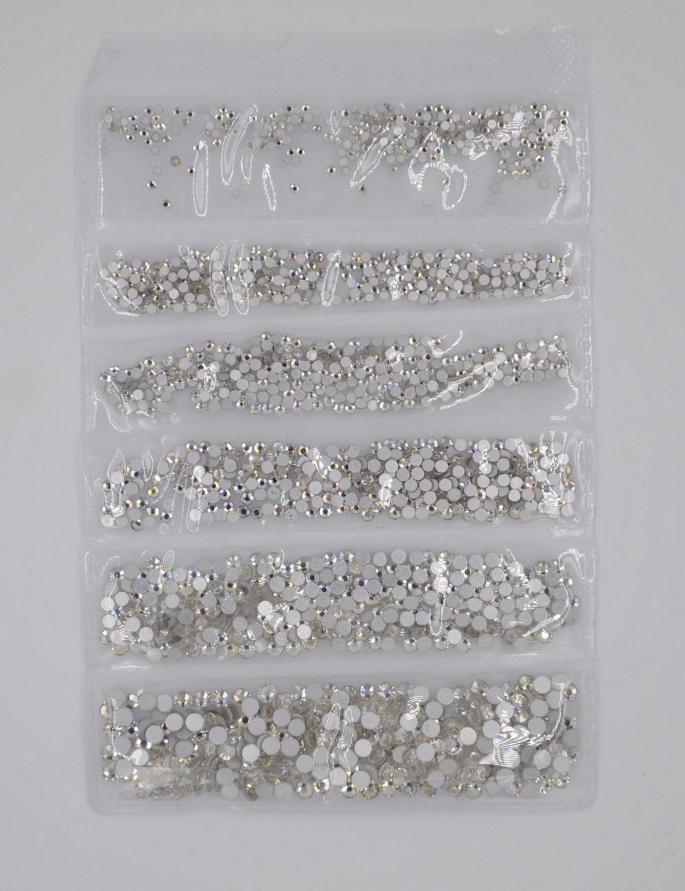 Crystal Clear SS3-SS10 Mix Sizes 1700PCSBag Nail Art Decorations GlassCrystal Non HotFix Rhinestones