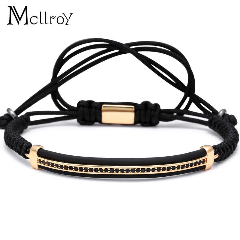 Mcllroy CZ черный и белый CZ плетение браслет ручной работы из бусин, циркония проложили изгиб бар красивое Макраме Веревка Цепь для браслет для любимой
