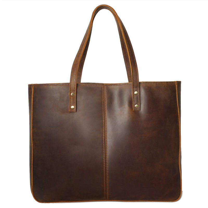 Nesitu High Quality Large Vintage Brown Yellow Genuine Leather Women Shoulder Bags female Shopping Handbags Lady Tote M8050