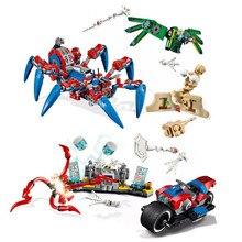 Marvel мстители Супер Герои Человек-паук велосипед спасательный паук Человек-паук строительные блоки кирпичи игрушки совместимы с