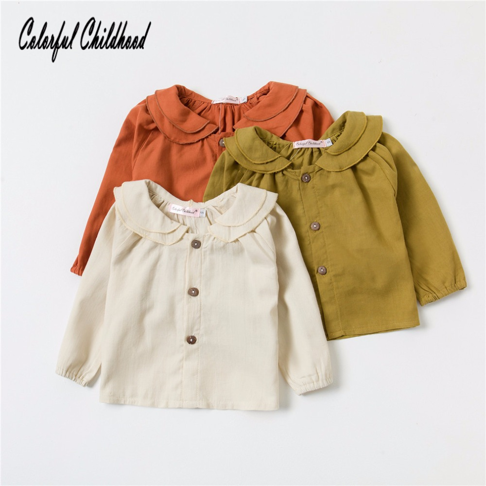 Spring Autumn Baby Girls Blouses Kids Long Sleeve Shirt Cotton Cute Tops Children Clothes Toddler Baby Clothing 0-3t