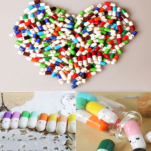 Bộ 50 Mini Viên Bình Dễ Thương Tình Yêu Tình Bạn Thông Điệp Viên Thuốc Hình Chúc Bình