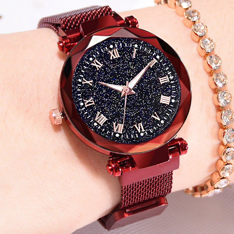 Reloj Mujer Women's Fashion Starry Sky Watches For Women Dress Magnet Buckle Mesh Belt Quartz Watch Zegarek Damski