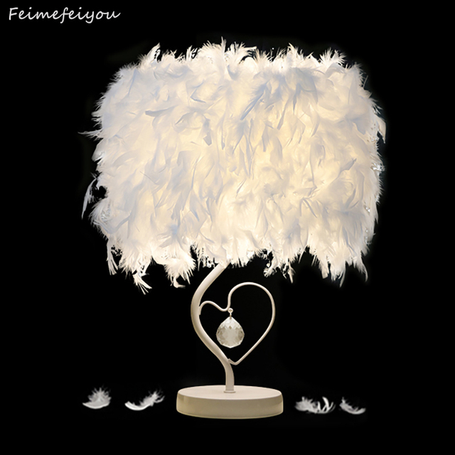Elegant Feimefeiyou Best Valentineu0027s Day Gift For Lover Heart Shape Feather Crystal  Lampada Led Table Lamp With Photo