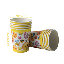 10pcs Emoji Disposable Tableware Paper cups Happy Birthday Party Decorations Supplies Easter Baby shower Wedding Activity goods 1set emoji disposable tableware banner sign flags happy birthday party decorations supplies easter baby shower activity goods
