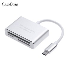 цена на USB C 3.0 Card Reader Leadzoe Aluminum Type C 3-Slot Flash Memory Card Reader for CF/SD/TF Micro SD/MD/MMC/SDHC/SDXC Flash Cards