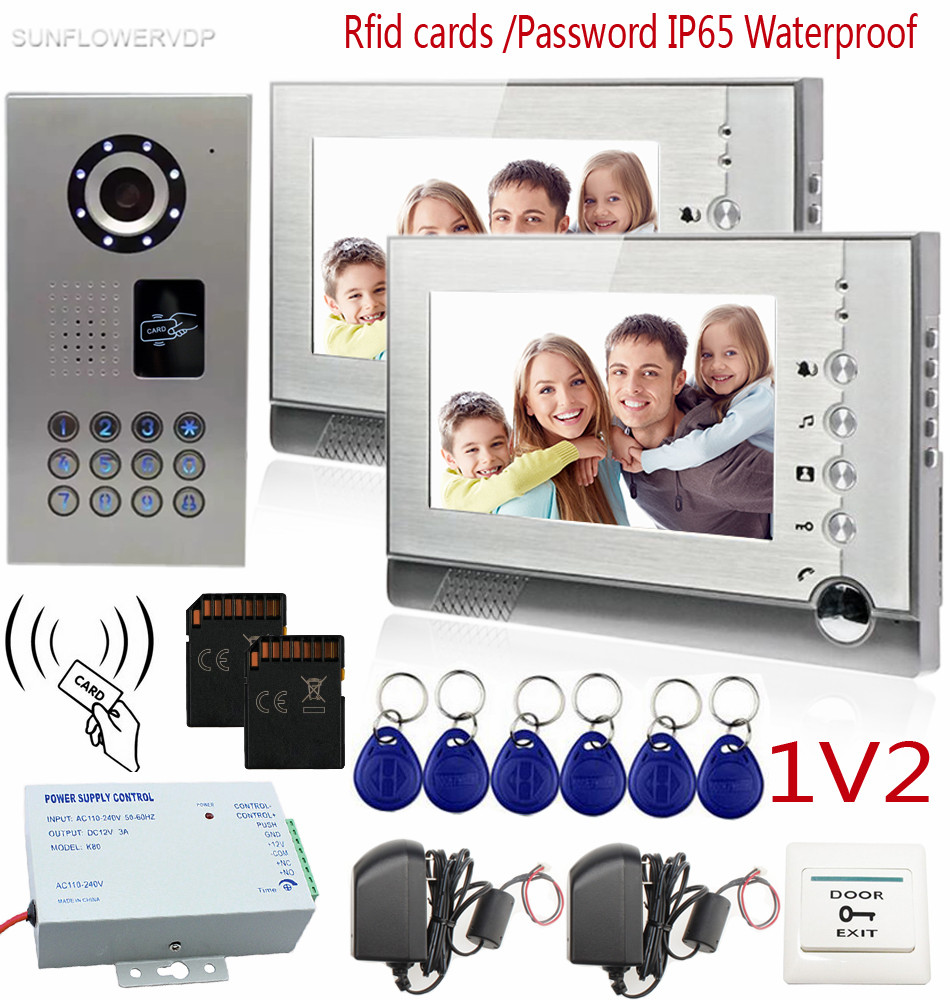 SUNFLOWERVDP Video Intercom With Recording IP65 Waterproof Rfid Card/Code CCD 700TVL Intercom System 8GB SD Card 7 Color Lcd sunflowervdp fingerprint door phone ip65 waterproof ccd 700tvl camera intercom with screen 7inch hd color images system unit 1v3