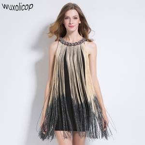 Image 1 - Grande Gatsby Ombre Catena di Metallo Halter Nero 1920s Fringe Flapper Charleston Dress Robe Sexy Del Partito Aderente Club Dress Vestido