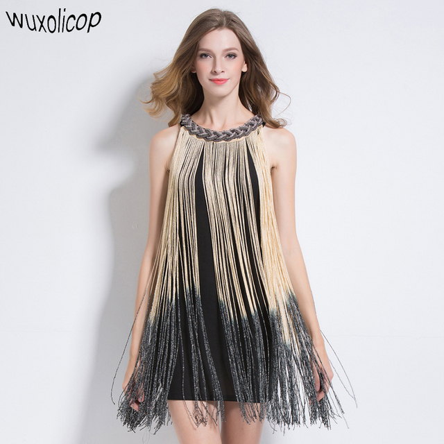 Great Gatsby Ombre Metal Chain Halter Black 1920s Fringe