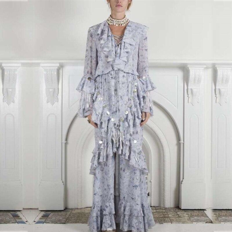 2019 New Arrival Woman Maxi Dress V Neck Butterfly Ruffles Sequined Tassel High Waist Light Blue