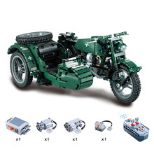 Remote Control Military motorcycle Technic Model Building Blocks 623 Pcs Bricks Boy Birthday Gift Kids Children Toys(China)