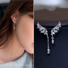 New Arrival Cute 925 Sterling Silver Wings Zircon Stone Stud Earrings for Women Fashion Jewelry 2019