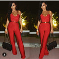 Bandage Jumpsuits For Women 2016 Spagetti Strap Sleeveless Overalls Womens Red Jumpsuit Deep V Neck Backless Wholesale HL