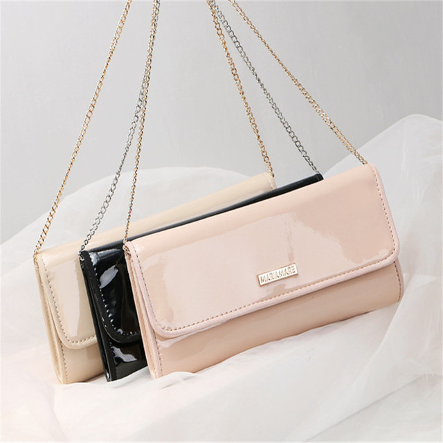 New Elegant Solid 3 Color Dinner Banquet Bag PU Leather High Quality Evening bag with chain HBF37
