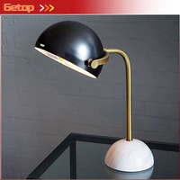 Retro Imitation Copper Gold Black Marble Base Reading Table Lamp Modern Creative Metal Shade Living Room