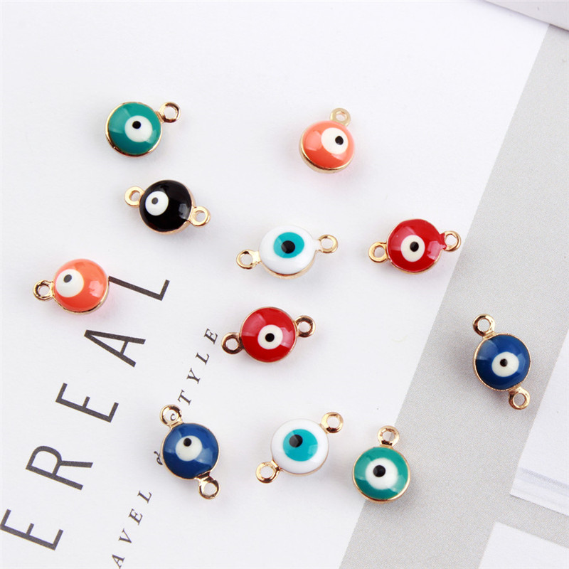 Mini Order Fashoin Evil Eye Shape Resin Alloy Bracelet Connector Charm Craft Fit Ornament Accessories Material Shoes Decor