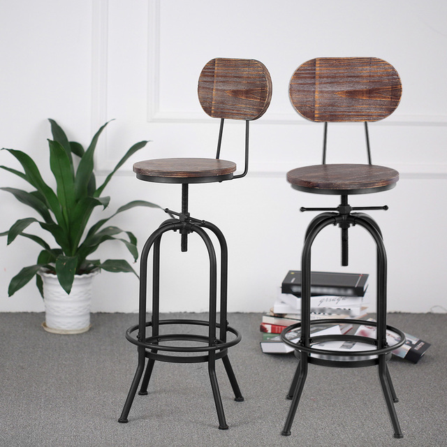 Bon IKayaa Industrial Style Bar Stool Height Adjustable Swivel Kitchen Dining  Chair Pinewood Top Metal With Backrest