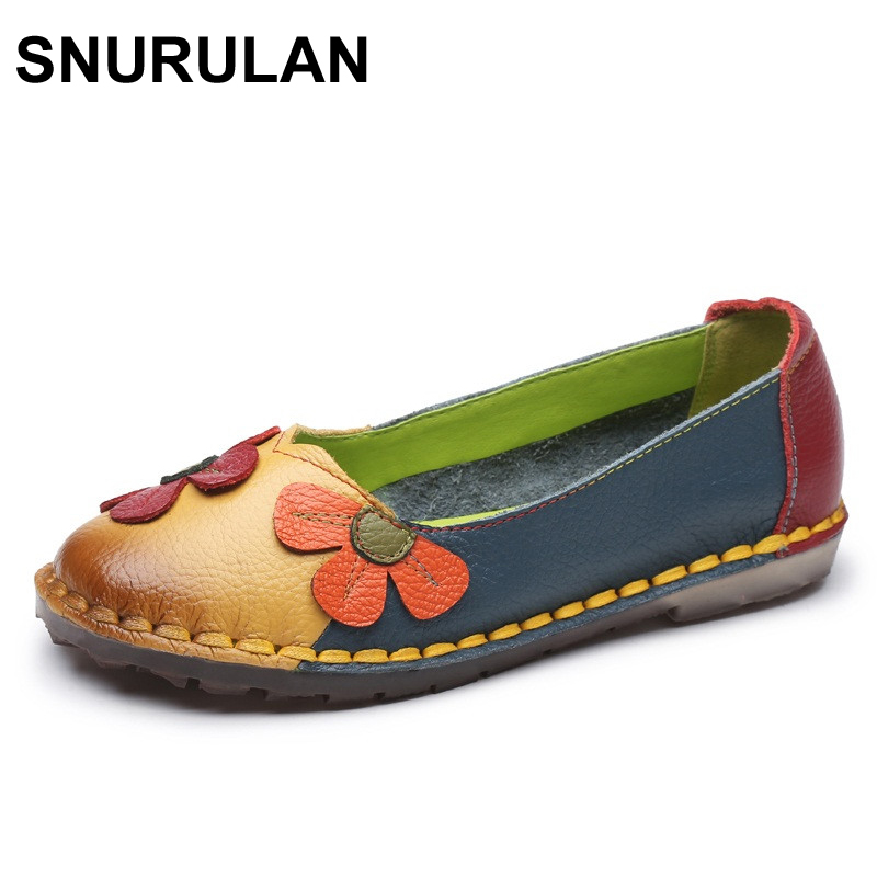 SNURULAN Summer Autumn Fashion Flower Design Round Toe Mix Color Flat Shoes Vintage Genuine Leather Women Flats Girl Loafer front lace up casual ankle boots autumn vintage brown new booties flat genuine leather suede shoes round toe fall female fashion