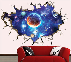 Newly Creative Space planet Galaxy Stars Planets Universe 3d space sticker Wall Mural Photo Wallpaper Eco-friendly Wall Sticker