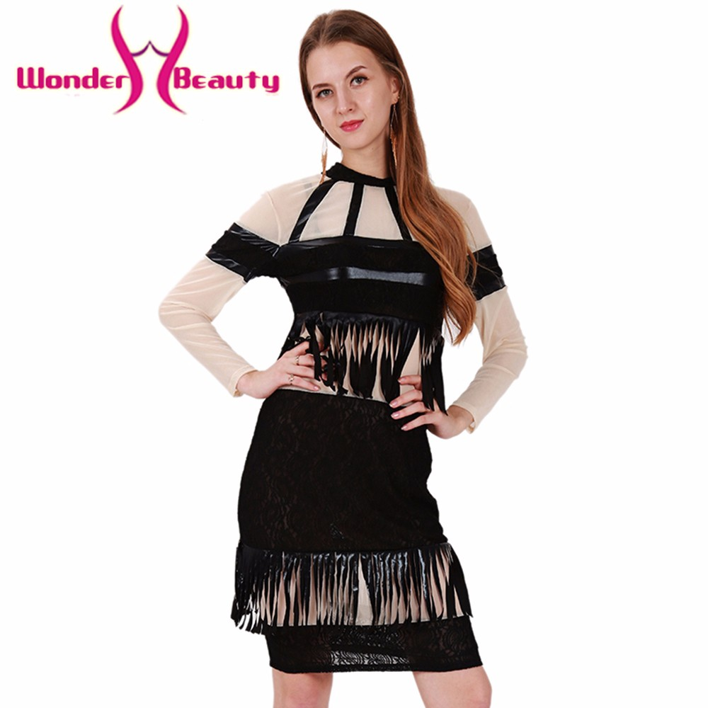 195e9f7196bf Wonder beauty Black Faux leather Skin color lace mesh Patchwork women  elegant Casual work office dress club party ball wear