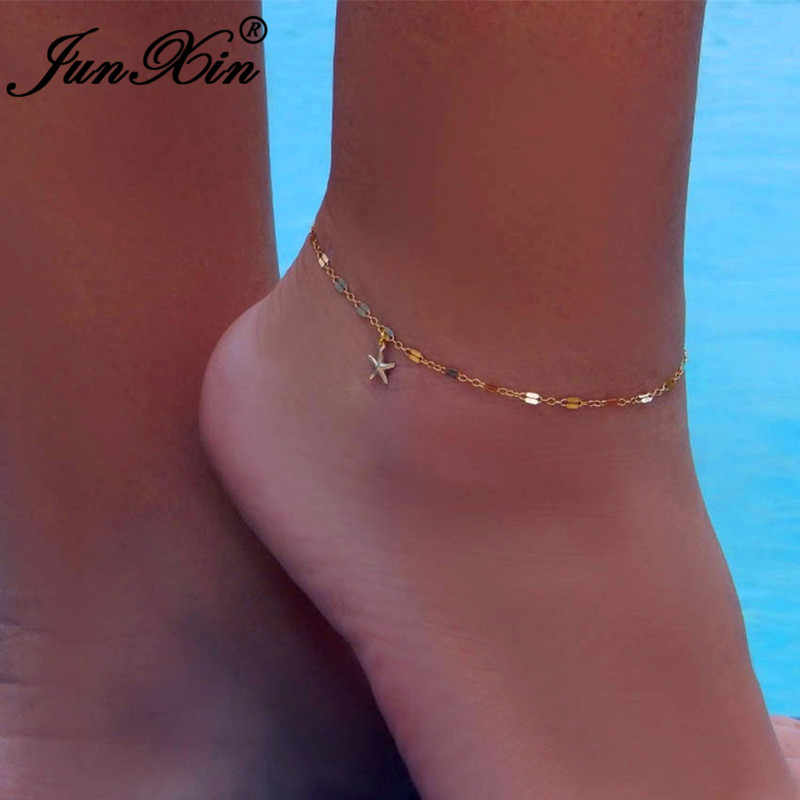 JUNXIN מינימליסטי החוף יחף Anklets נשים קטן כוכב ציצית רגל קרסול צמיד דק שרשרות צמיד Seasides תכשיטים