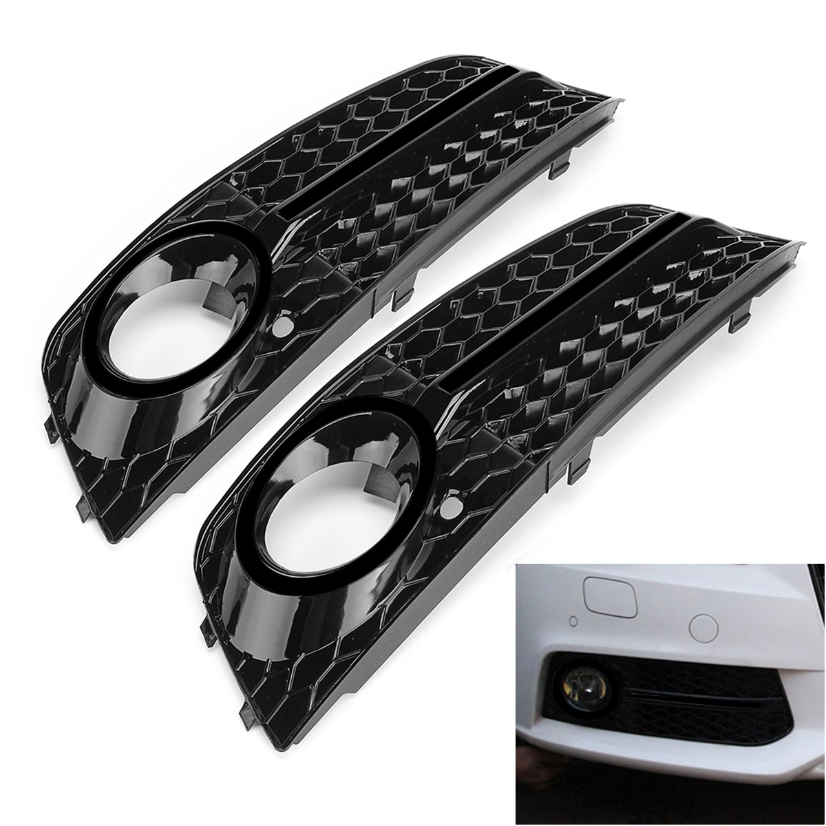 2x Front Bumper Fog Light Cover Trim Mesh Grille For Audi A4 B8 09-11 STANDARD New For Audi A4 Fog Light Cover Grille Gril ownsun innovative super cob fog light angel eye bumper cover for skoda fabia scout
