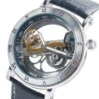 Luxury SHENHUA 2 Colors Skeleton Dial Design Mechanical Wrist Watch Men Women Unisex Leather Men S