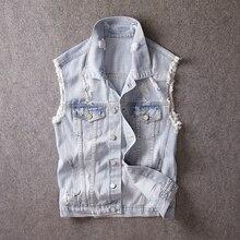 Korean Style Fashion Men Vest Retro Light Blue Destroyed Ripped Sleeveless Denim Jackets Men Campus Boyfriend Vests