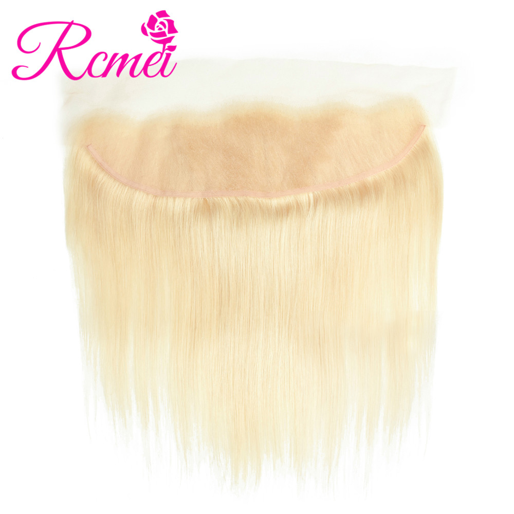 Rcmei 613 Blonde Color Brazilian Straight Hair Lace Front 13*4 Top Frontal Remy Hair Blonde Lace Frontal Closure With Baby hair image