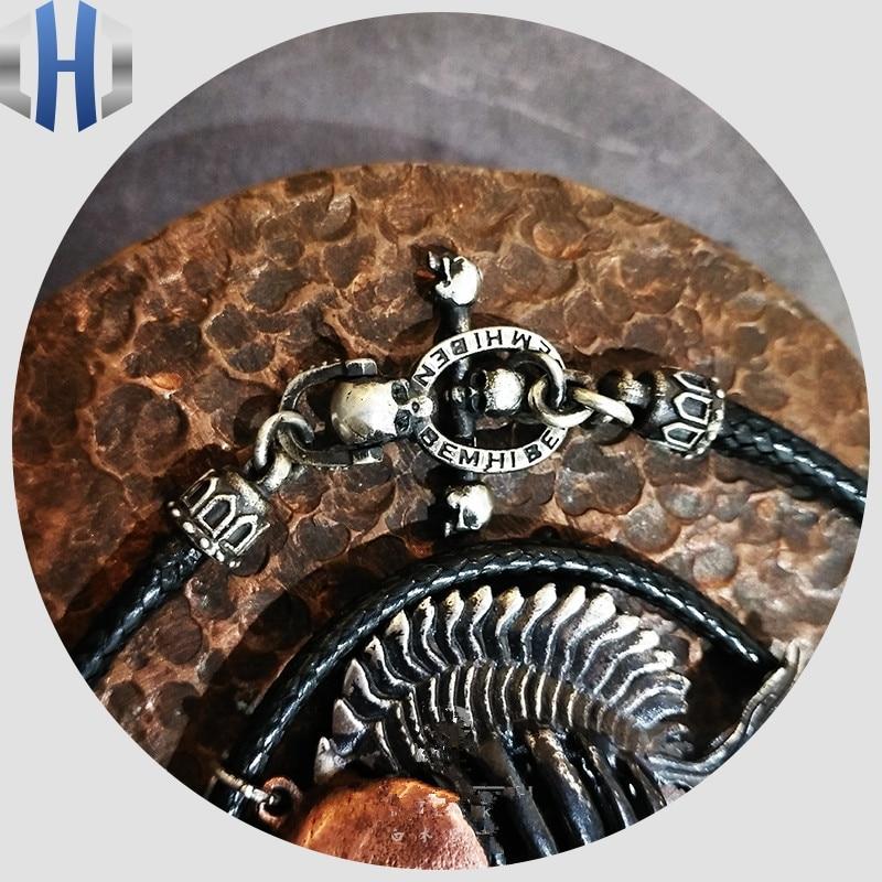 Collier fait à la main en argent Sterling 925 avec boucle en forme de crâne et cordon Vickeron en Fiber noire pour hommes et femmes