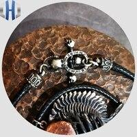 Handmade 925 Sterling Silver Skull OT Buckle Necklace Vickeron Fiber Pendant Lanyard Black Men And Women