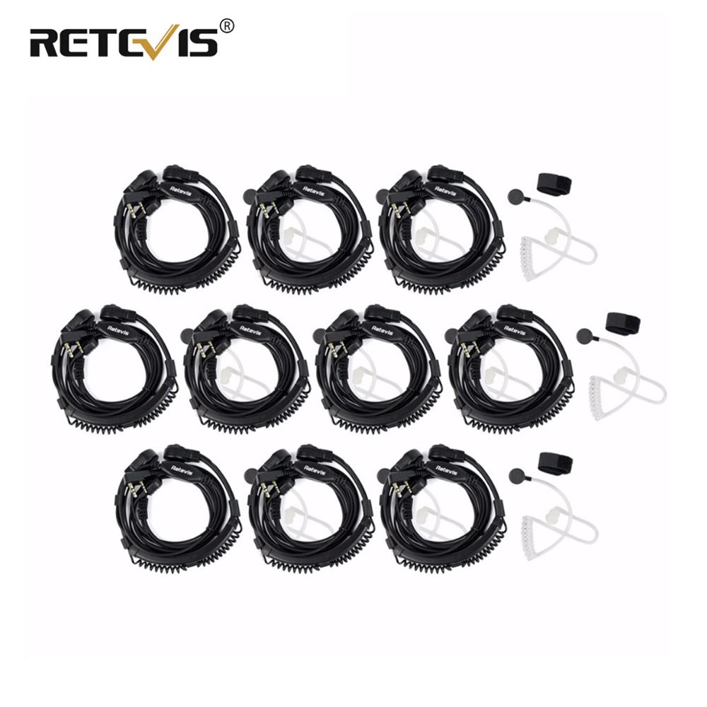 10pcs Flexible Throat Mic Headphones For Walkie-talkie Throat Micropnone For Kenwood Baofeng UV 5R UV-82 Retevis H777 RT5 RT22