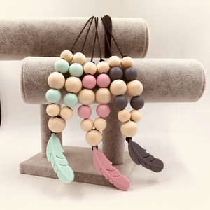 Wooden Necklace Pram Toy  Shape Teething Beads Sensory Baby Gym Toys Rattles Baby Wooden Teether