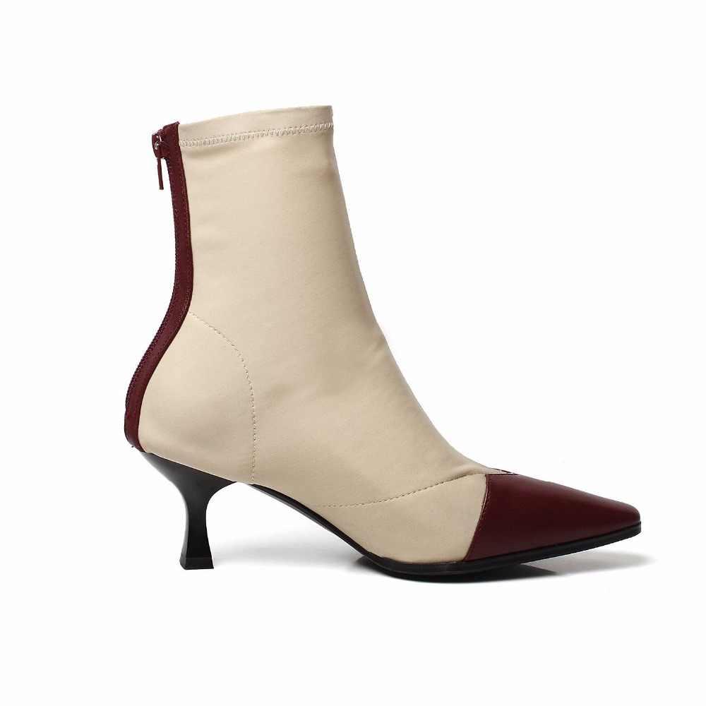 2018 yeni varış yaz çizmeler fermuar yüksek topuklu kadın çizmeler orta buzağı karışık renkler sivri burun parti tiki tarzı sonbahar ayakkabı L52