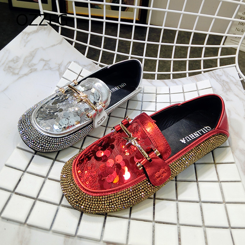 Women Loafers Round Toe Luxury Rhinestone Ladies Shoes Fashion Bling Flat Women Shoes Spring Summer Loafers Slip On Casual Shoes