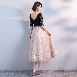 Image 5 - FADISTEE חדש הגעה אלגנטית ערב מסיבת שמלות נשף תה אורך שמלת אונליין סאטן תחרה חלוק דה Soiree חצי תחרה שרוולים