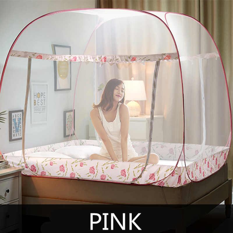 LINSUNG Plegable Cama doble Mosquitera F/ácil de instalar Techo Mosquitera de c/úpula Cama de mosquito generosa Moda Pink