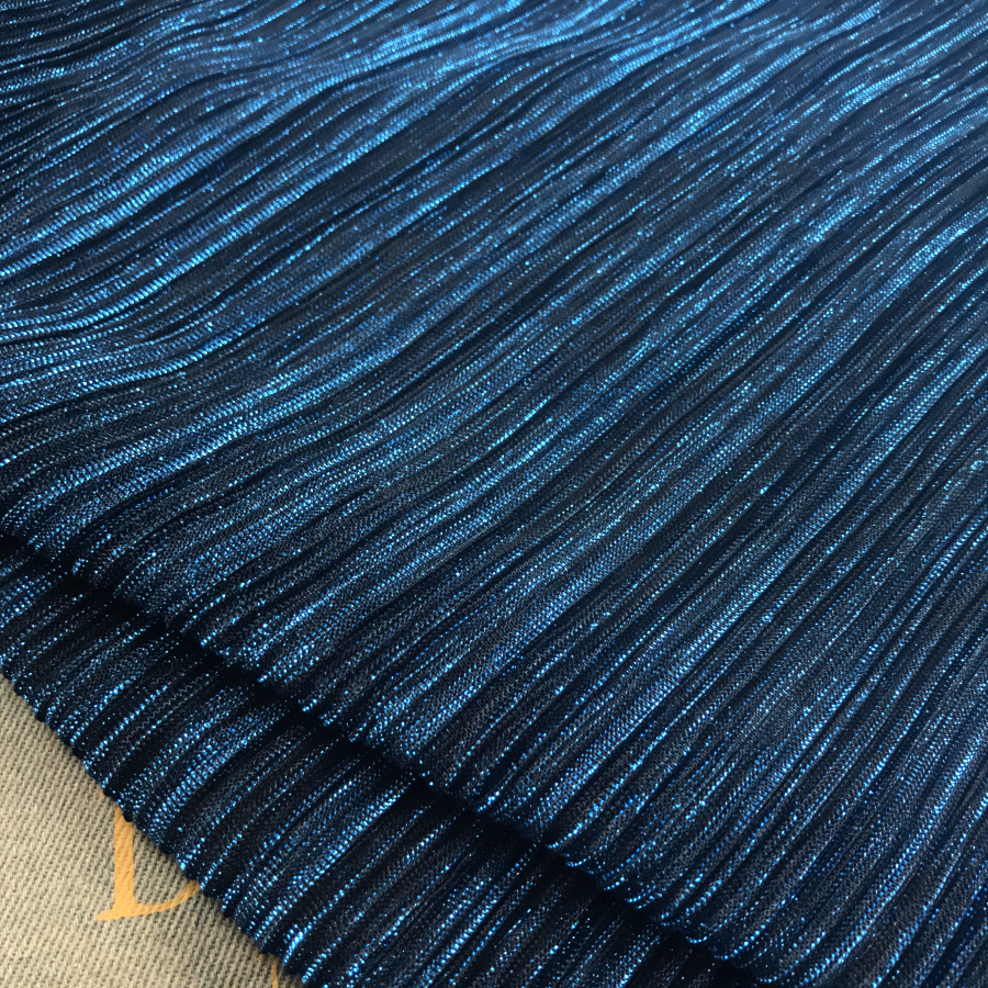 2 meters 150cm 59 width blue shiny ultra-fine pleated accordion mesh tulle fabric evening dress clothes materials MM445