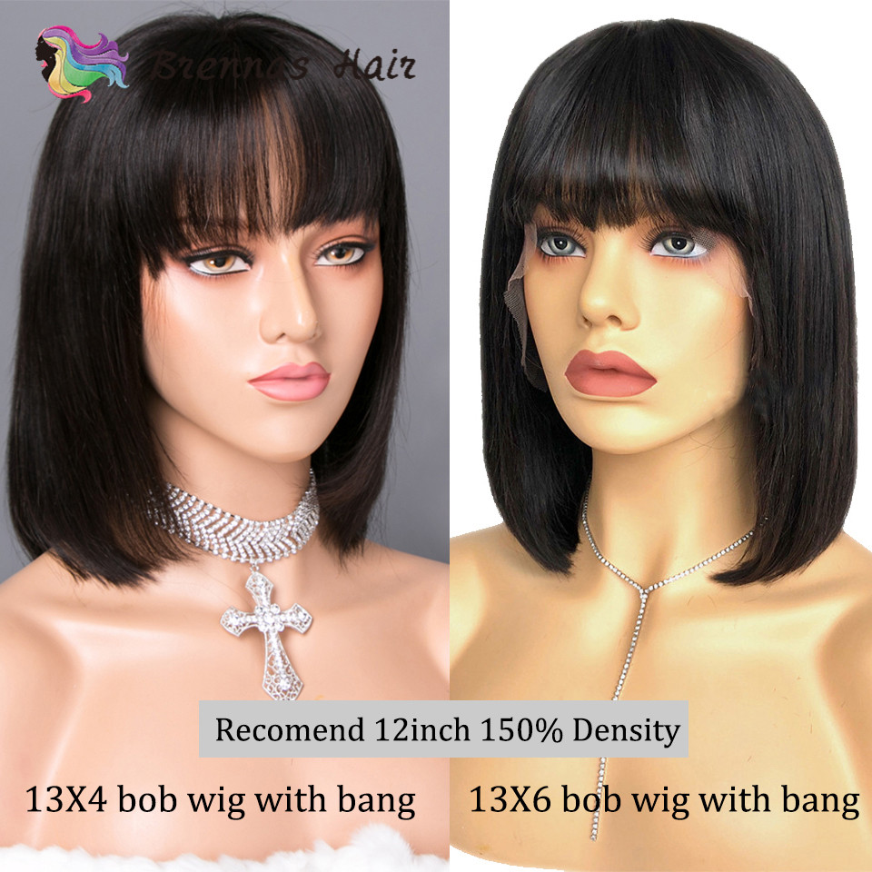 13X6 Short Bob Wig With Bangs Brazilian Human Hair 13X4 Bob Lace Front Wigs Straight Bob Wig With Bangs 8-16inch Non-Remy Hair