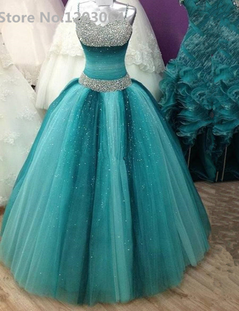 Blue Dream Quinceanera Dresses Ball Gowns With Silver Beading Sequin ...
