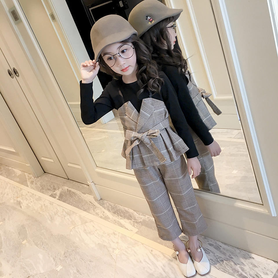 2018 New Toddler <font><b>Girl</b></font> <font><b>Clothes</b></font> Autumn Back To School Outfits Kids Teenager <font><b>Girls</b></font> <font><b>Clothes</b></font> <font><b>10</b></font> <font><b>12</b></font> <font><b>Years</b></font> Plaid Shirts + Pants image