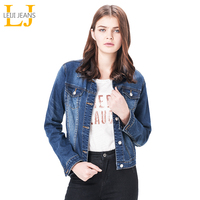 Leiji 2015 Fashion Turn Down Collar Denim Coats Plus Size S 6XL Solid Long Sleeve Women